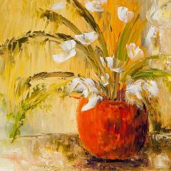 Pots de fleurs blanches